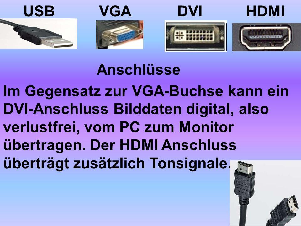 USB VGA. DVI. HDMI. Anschlüsse.