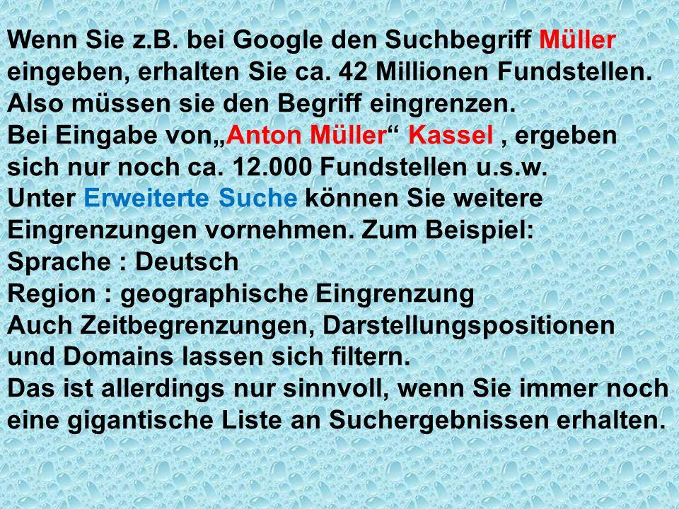 Wenn Sie z.B. bei Google den Suchbegriff Müller eingeben, erhalten Sie ca. 42 Millionen Fundstellen.