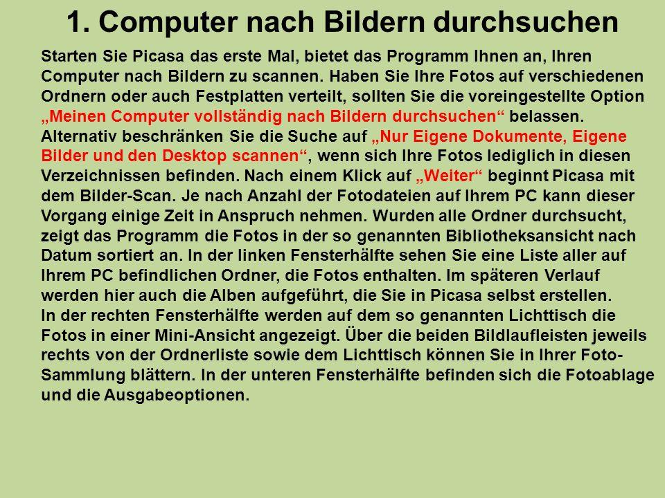 1. Computer nach Bildern durchsuchen