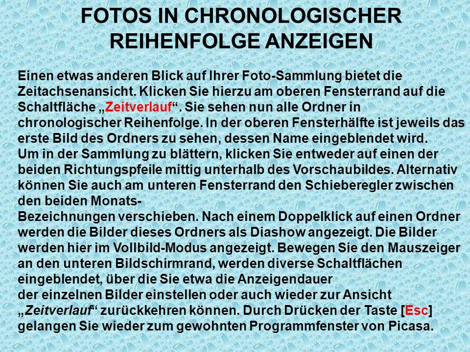 FOTOS IN CHRONOLOGISCHER REIHENFOLGE ANZEIGEN