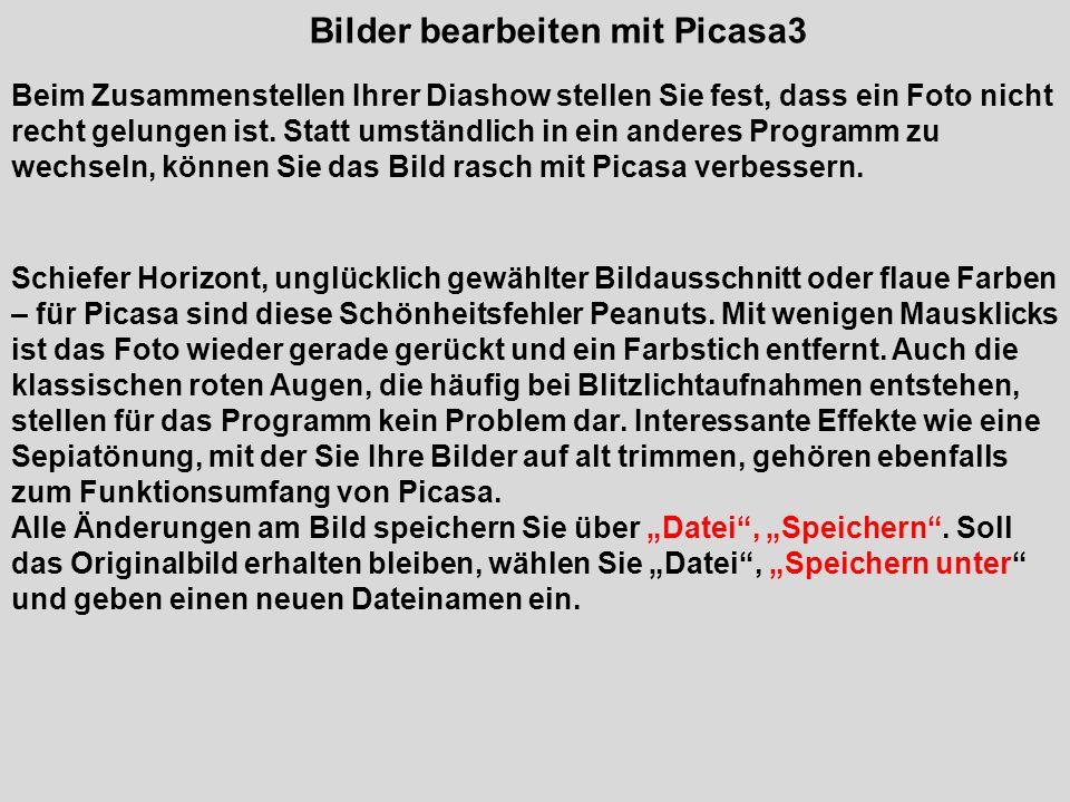 Bilder bearbeiten mit Picasa3