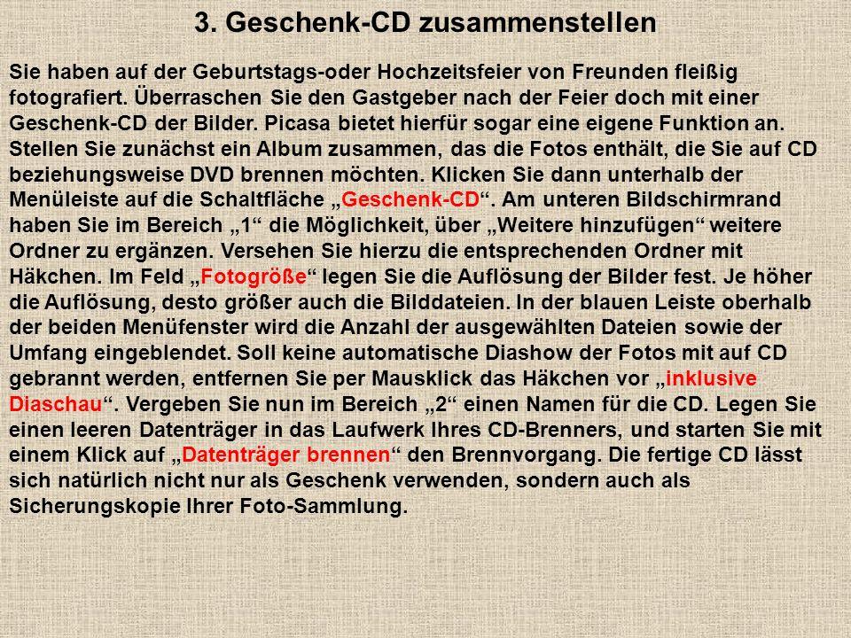 3. Geschenk-CD zusammenstellen