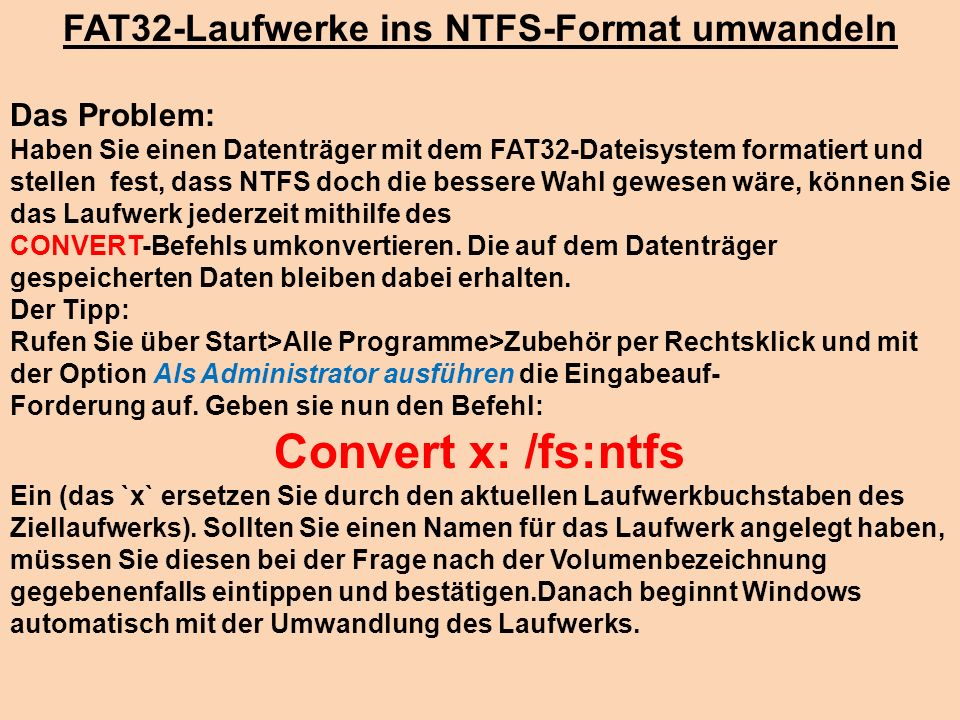 FAT32-Laufwerke ins NTFS-Format umwandeln