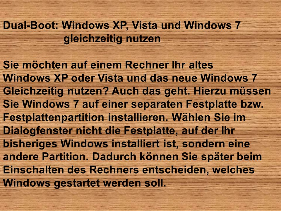 Dual-Boot: Windows XP, Vista und Windows 7