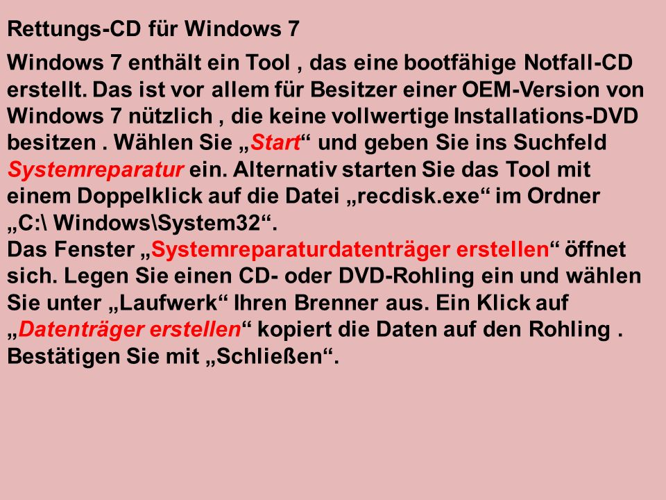 Rettungs-CD für Windows 7