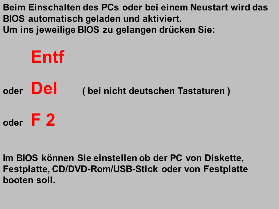 Beim Einschalten des PCs oder bei einem Neustart wird das BIOS automatisch geladen und aktiviert.