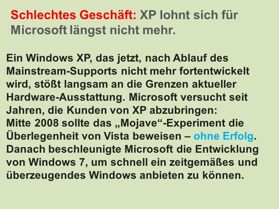 Schlechtes Geschäft: XP lohnt sich für Microsoft längst nicht mehr.