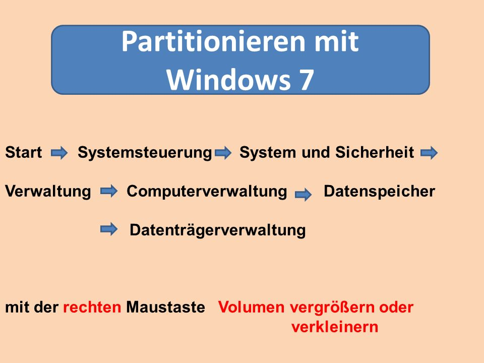 Partitionieren mit Windows 7