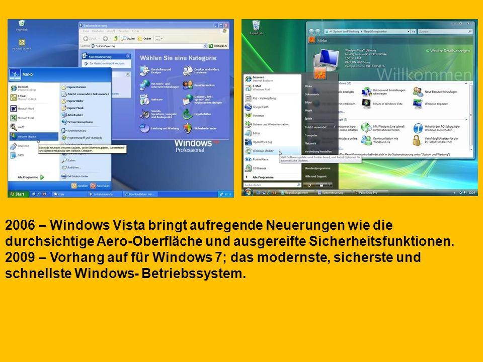 2006 – Windows Vista bringt aufregende Neuerungen wie die durchsichtige Aero-Oberfläche und ausgereifte Sicherheitsfunktionen.