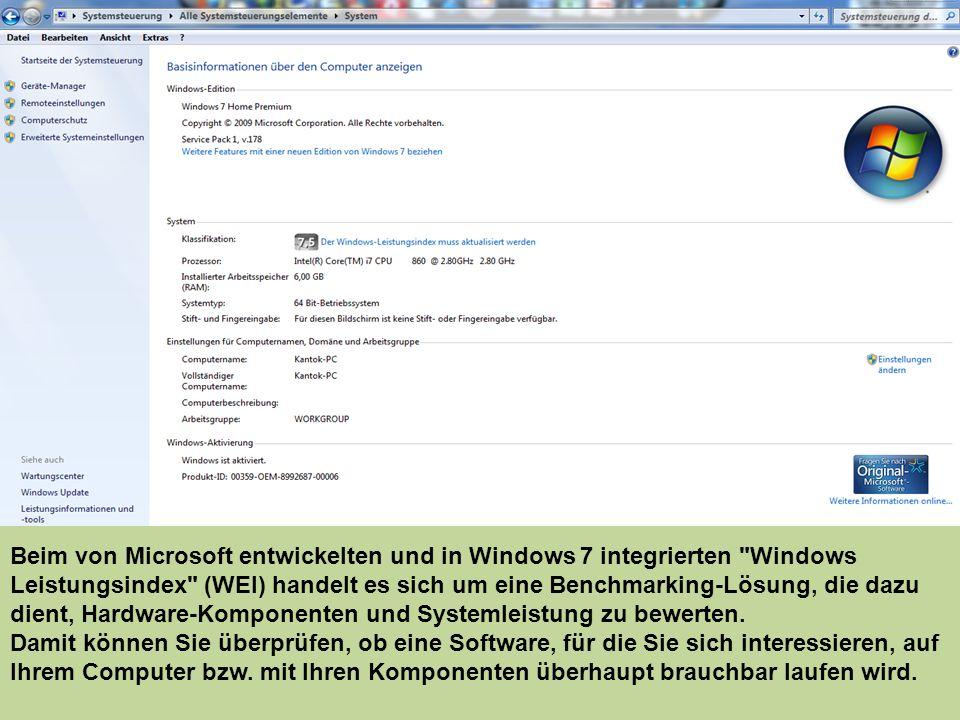 Beim von Microsoft entwickelten und in Windows 7 integrierten Windows Leistungsindex (WEI) handelt es sich um eine Benchmarking-Lösung, die dazu dient, Hardware-Komponenten und Systemleistung zu bewerten.