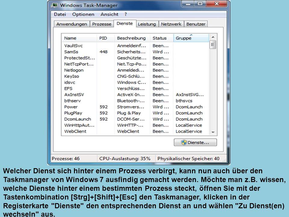 Welcher Dienst sich hinter einem Prozess verbirgt, kann nun auch über den Taskmanager von Windows 7 ausfindig gemacht werden.