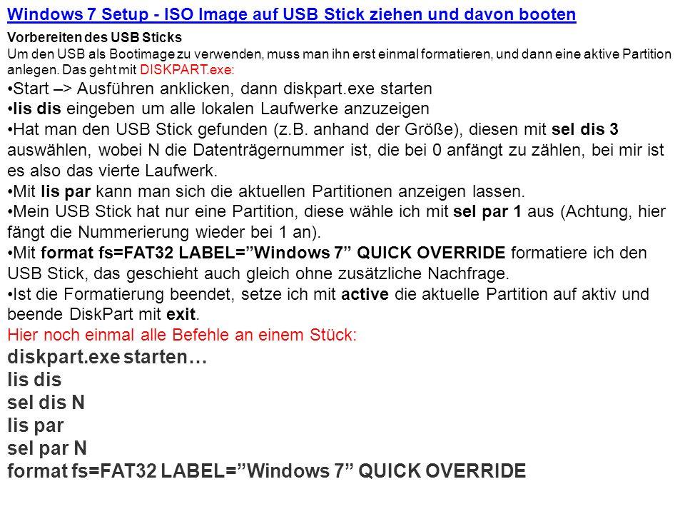 Windows 7 Setup - ISO Image auf USB Stick ziehen und davon booten
