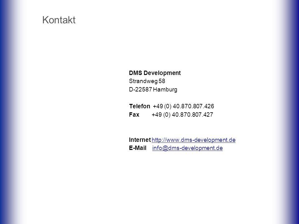Kontakt DMS Development Strandweg 58 D-22587 Hamburg