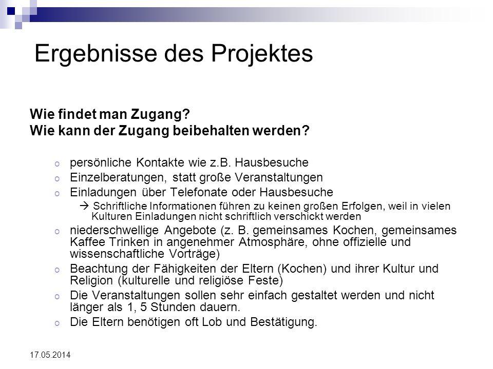 Ergebnisse des Projektes