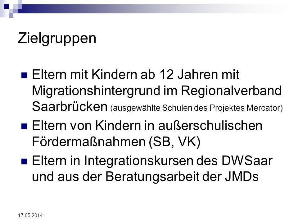 Zielgruppen Eltern mit Kindern ab 12 Jahren mit Migrationshintergrund im Regionalverband Saarbrücken (ausgewählte Schulen des Projektes Mercator)