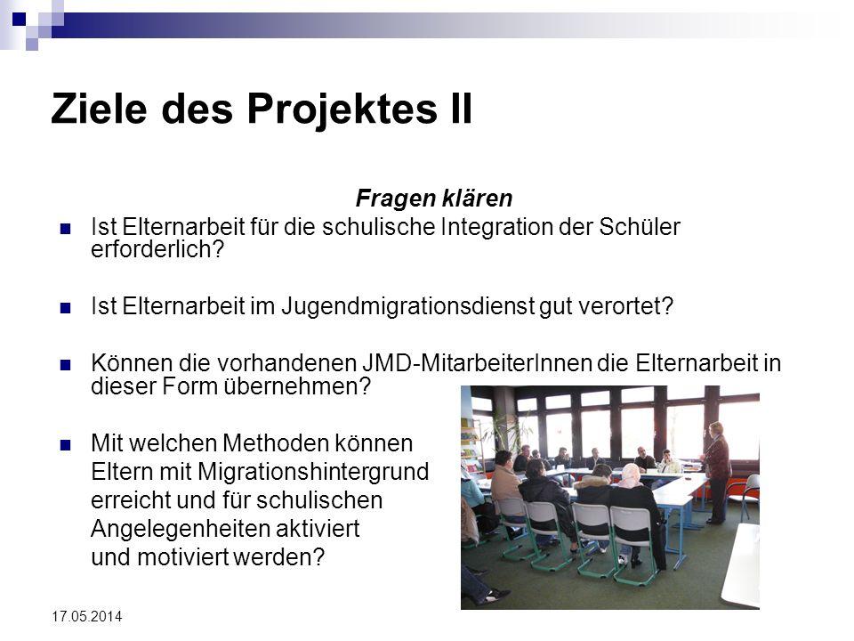 Ziele des Projektes II Fragen klären