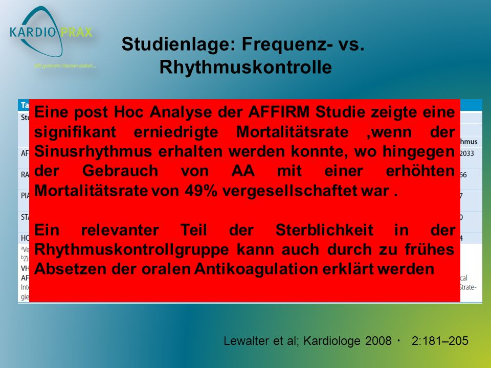 Studienlage: Frequenz- vs.