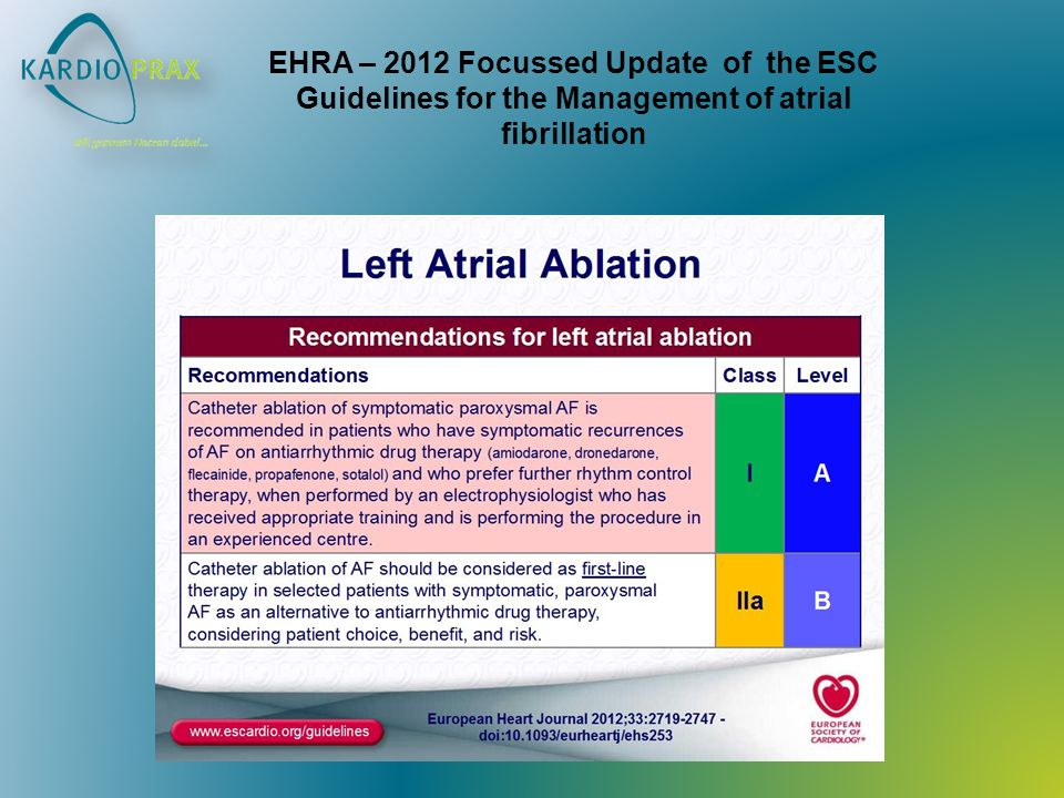 EHRA – 2012 Focussed Update of the ESC Guidelines for the Management of atrial fibrillation
