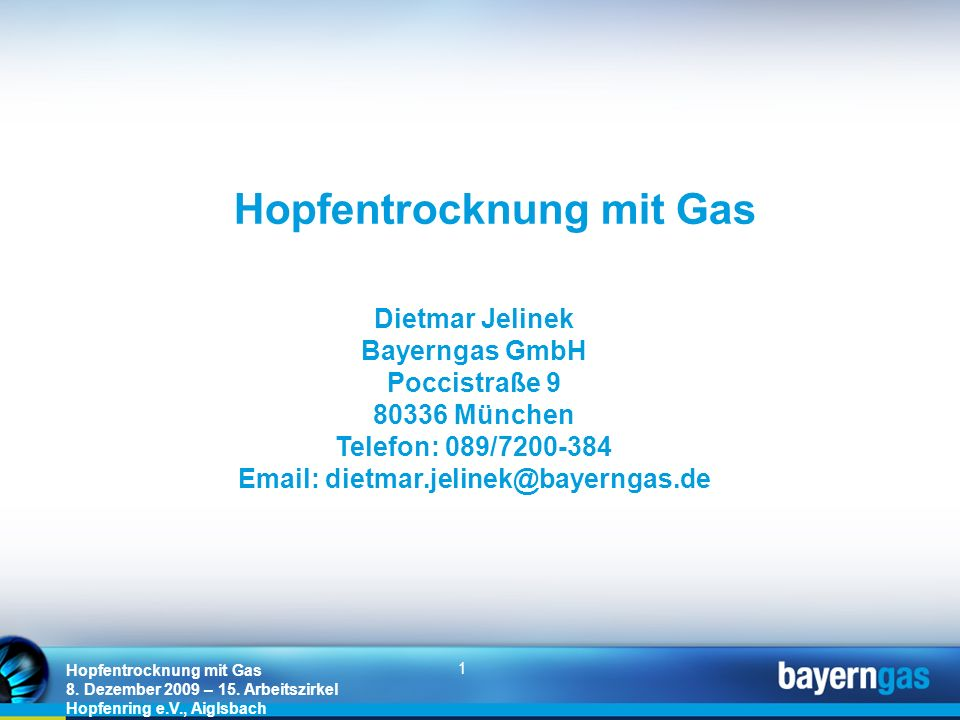 Hopfentrocknung mit Gas