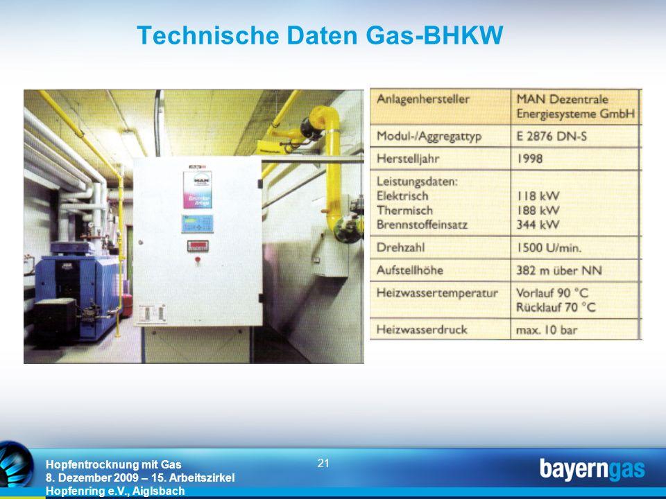 Technische Daten Gas-BHKW