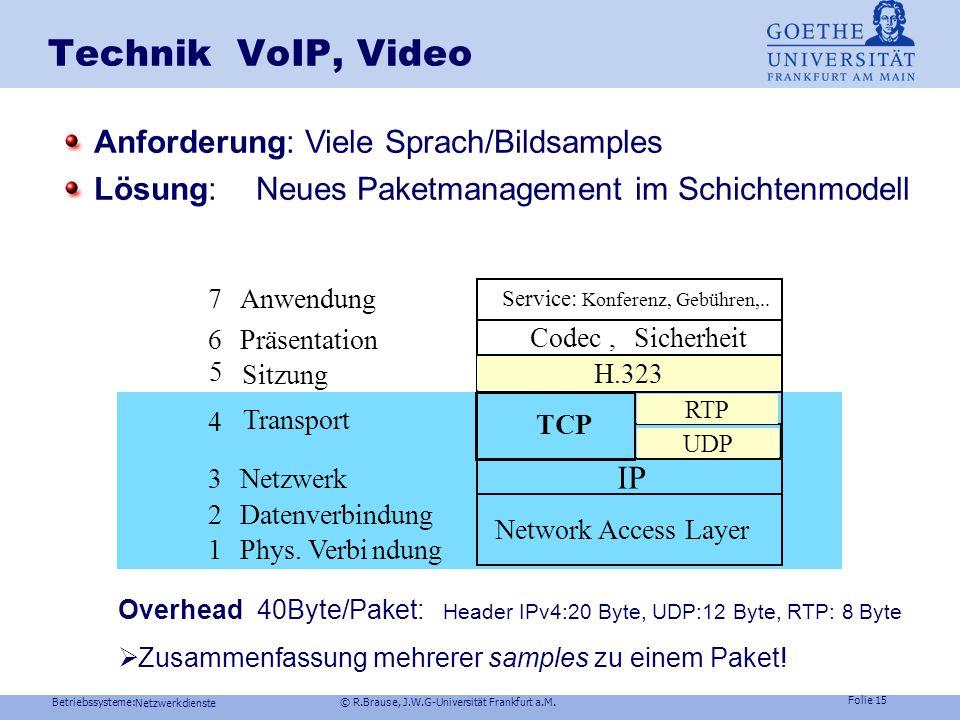 Technik VoIP, Video IP Anforderung: Viele Sprach/Bildsamples