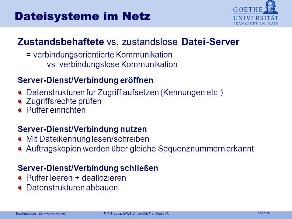 Dateisysteme im Netz Zustandsbehaftete vs. zustandslose Datei-Server