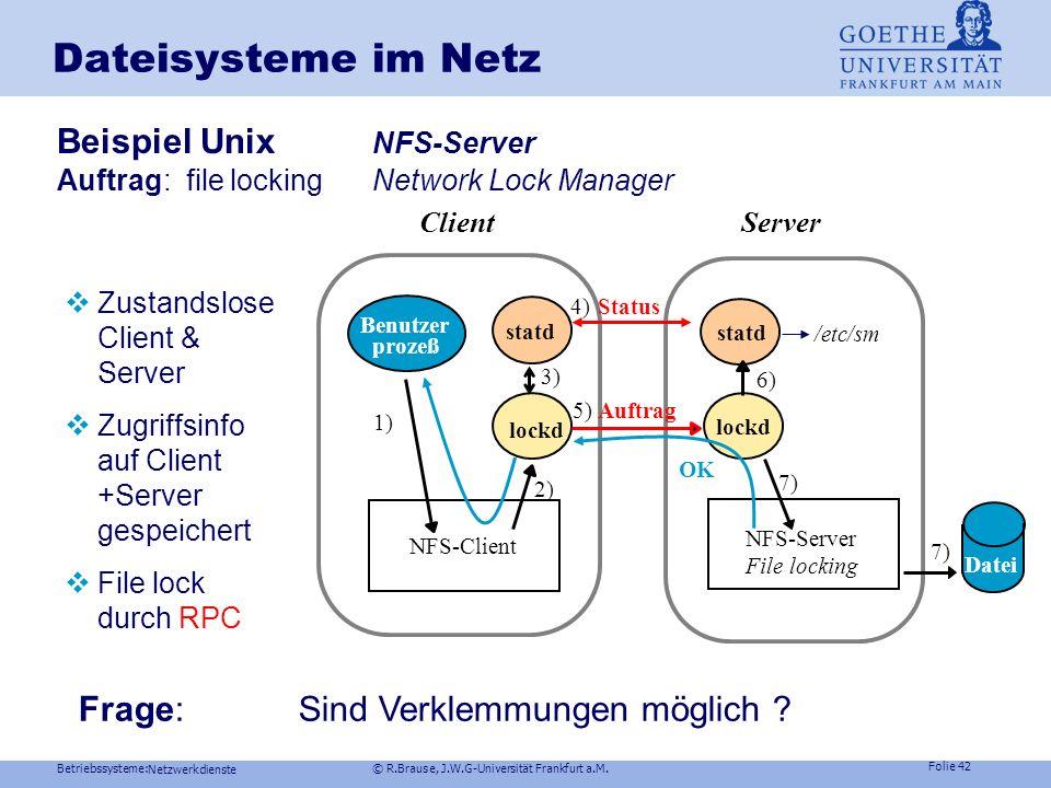 Dateisysteme im Netz Beispiel Unix NFS-Server