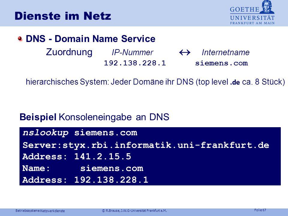 Dienste im Netz DNS - Domain Name Service