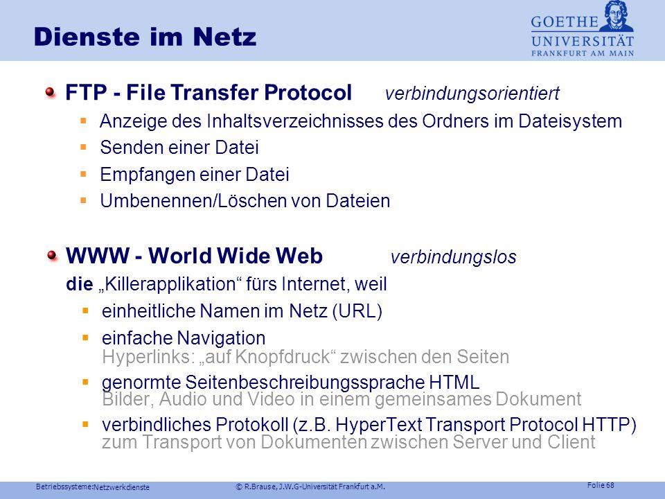 Dienste im Netz FTP - File Transfer Protocol verbindungsorientiert