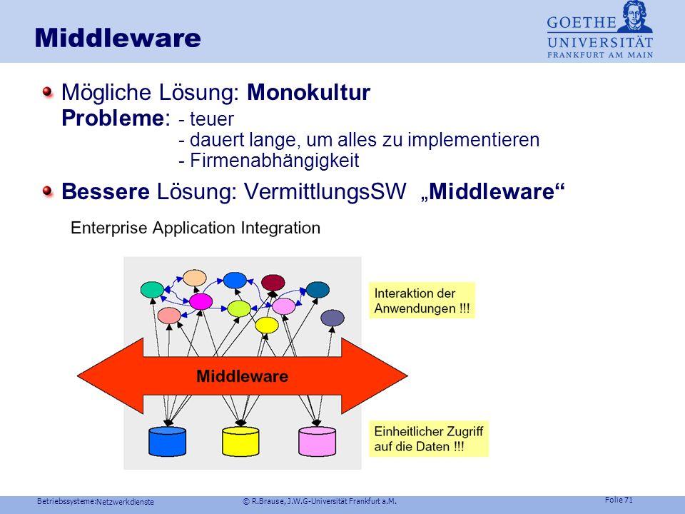 Middleware Mögliche Lösung: Monokultur Probleme: - teuer