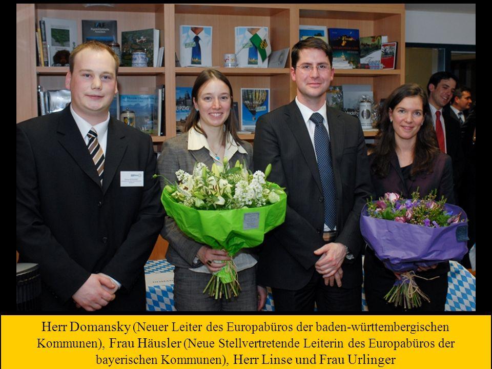 Herr Domansky (Neuer Leiter des Europabüros der baden-württembergischen Kommunen), Frau Häusler (Neue Stellvertretende Leiterin des Europabüros der bayerischen Kommunen), Herr Linse und Frau Urlinger