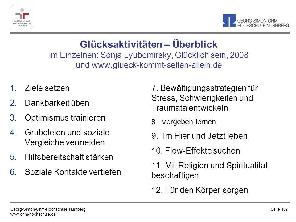 Glücksaktivitäten – Überblick im Einzelnen: Sonja Lyubomirsky, Glücklich sein, 2008 und www.glueck-kommt-selten-allein.de