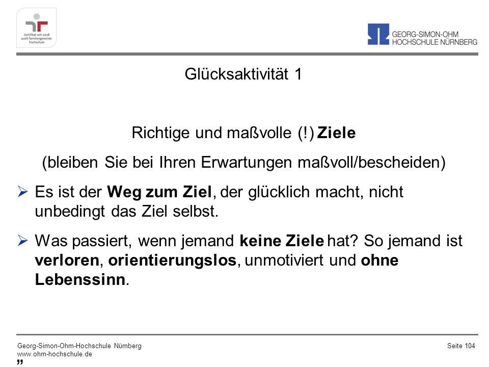 """"""" Glücksaktivität 1 Richtige und maßvolle (!) Ziele"""