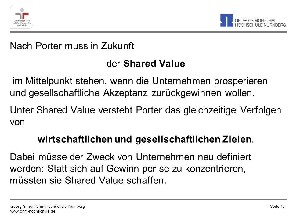 Nach Porter muss in Zukunft der Shared Value im Mittelpunkt stehen, wenn die Unternehmen prosperieren und gesellschaftliche Akzeptanz zurückgewinnen wollen. Unter Shared Value versteht Porter das gleichzeitige Verfolgen von wirtschaftlichen und gesellschaftlichen Zielen. Dabei müsse der Zweck von Unternehmen neu definiert werden: Statt sich auf Gewinn per se zu konzentrieren, müssten sie Shared Value schaffen.