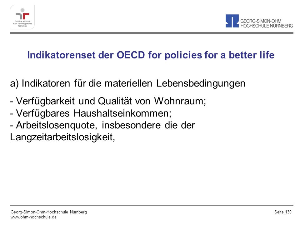 Indikatorenset der OECD for policies for a better life