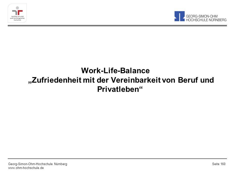 """Work-Life-Balance """"Zufriedenheit mit der Vereinbarkeit von Beruf und Privatleben"""