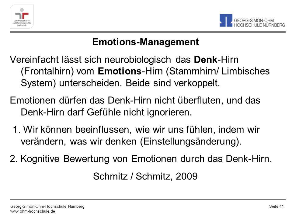 Emotions-Management Vereinfacht lässt sich neurobiologisch das Denk-Hirn (Frontalhirn) vom Emotions-Hirn (Stammhirn/ Limbisches System) unterscheiden. Beide sind verkoppelt. Emotionen dürfen das Denk-Hirn nicht überfluten, und das Denk-Hirn darf Gefühle nicht ignorieren. 1. Wir können beeinflussen, wie wir uns fühlen, indem wir verändern, was wir denken (Einstellungsänderung). 2. Kognitive Bewertung von Emotionen durch das Denk-Hirn. Schmitz / Schmitz, 2009