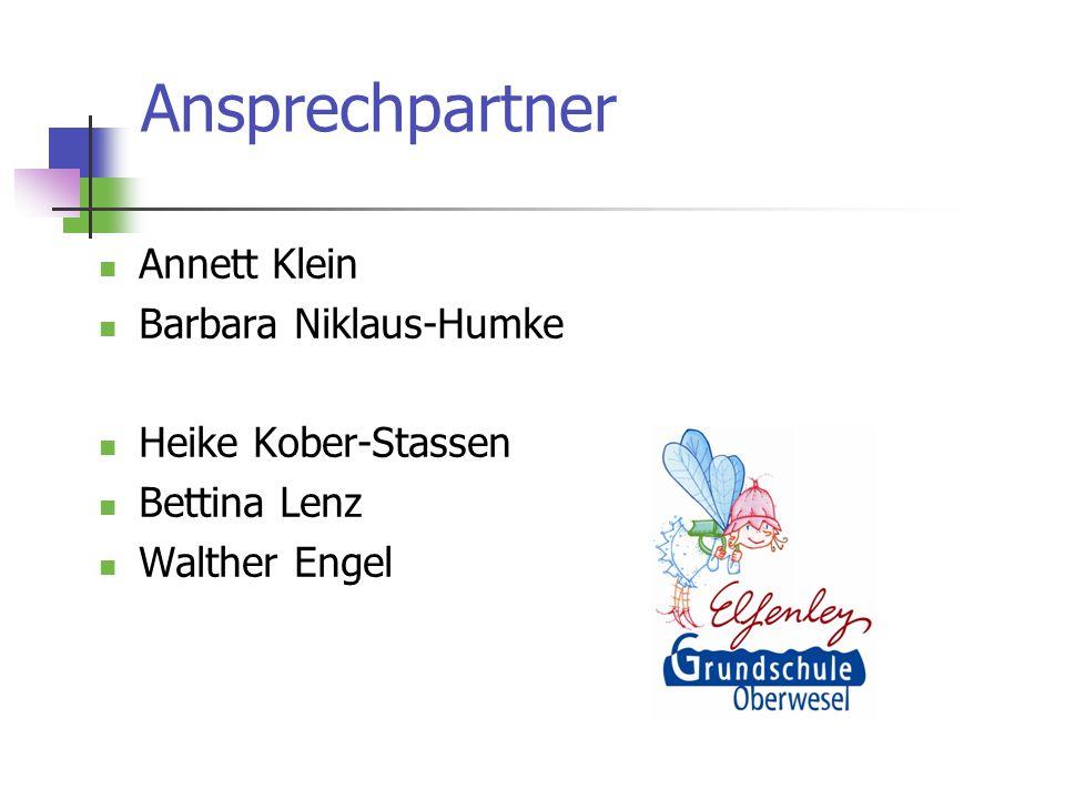 Ansprechpartner Annett Klein Barbara Niklaus-Humke Heike Kober-Stassen