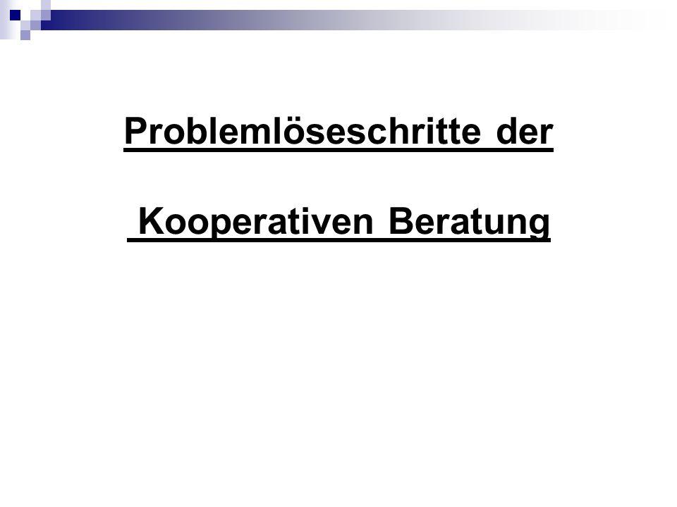 Problemlöseschritte der Kooperativen Beratung