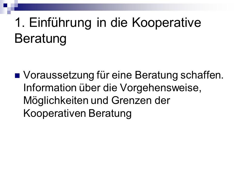 1. Einführung in die Kooperative Beratung