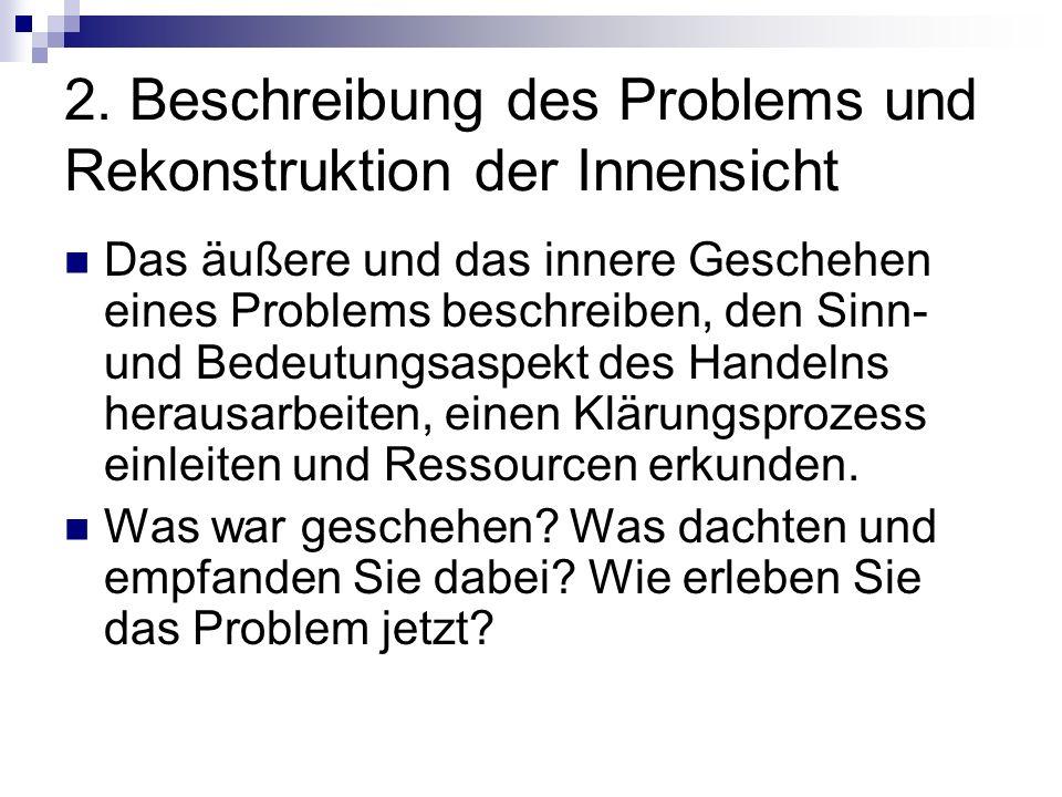2. Beschreibung des Problems und Rekonstruktion der Innensicht