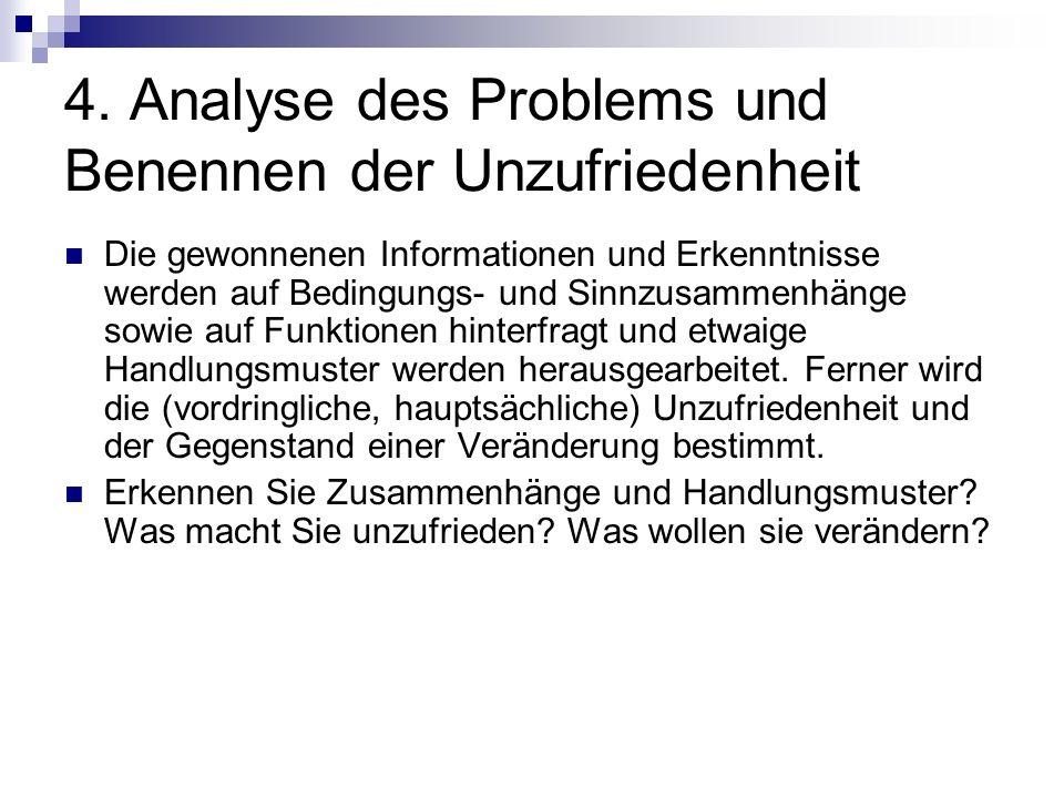 4. Analyse des Problems und Benennen der Unzufriedenheit