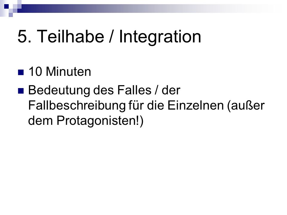 5. Teilhabe / Integration