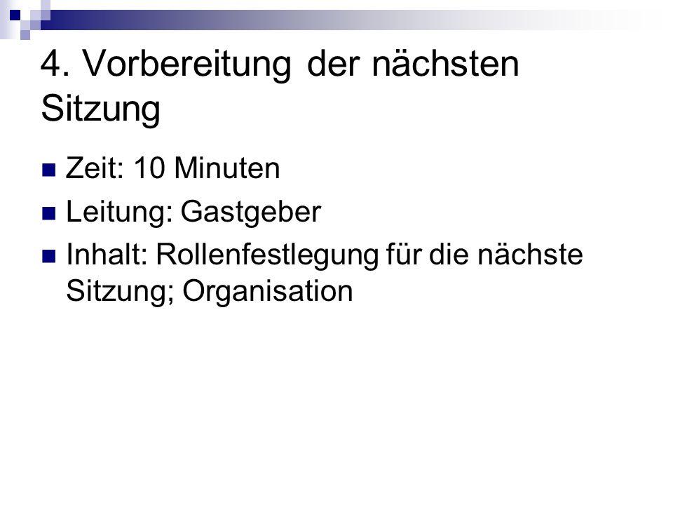 4. Vorbereitung der nächsten Sitzung
