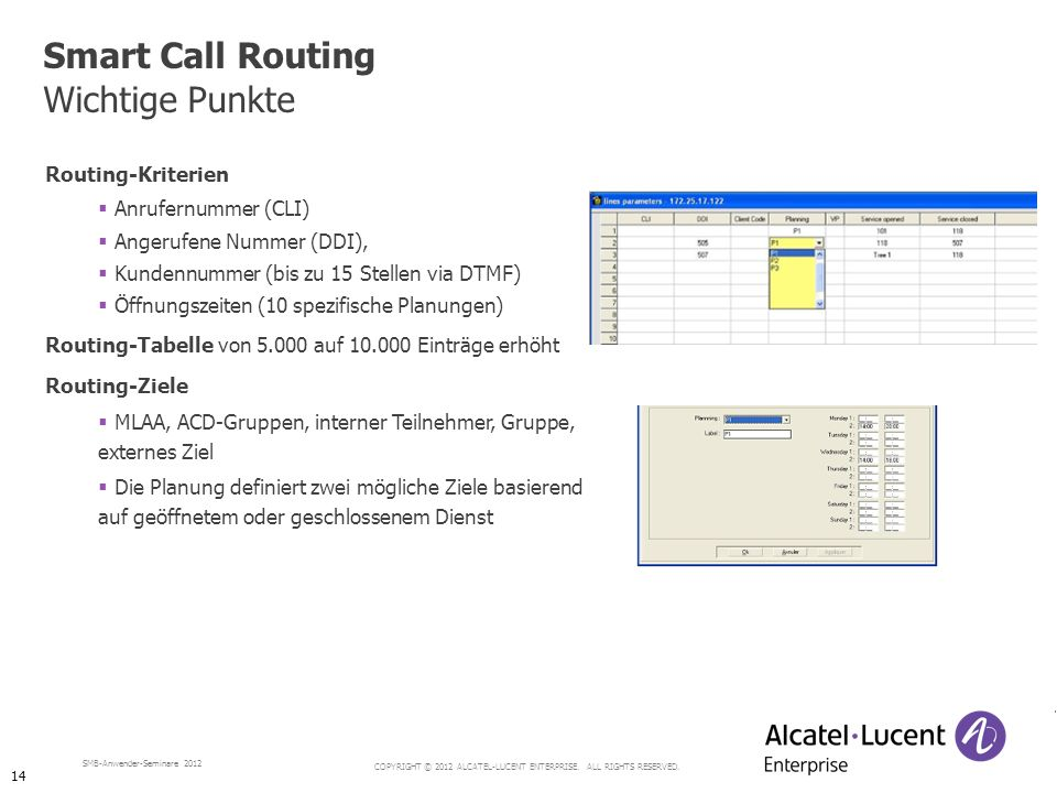 Smart Call Routing Wichtige Punkte Routing-Kriterien