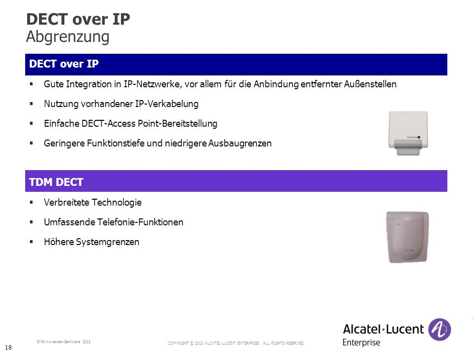 DECT over IP Abgrenzung DECT over IP TDM DECT