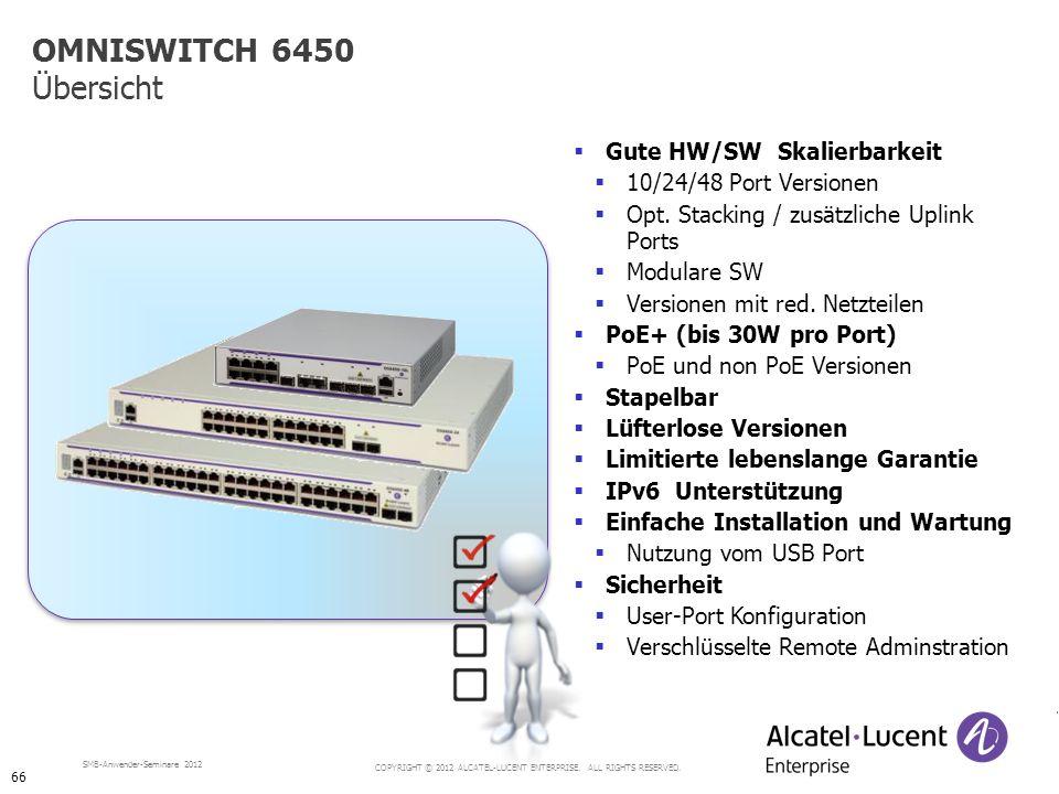 OMNISWITCH 6450 Übersicht Gute HW/SW Skalierbarkeit