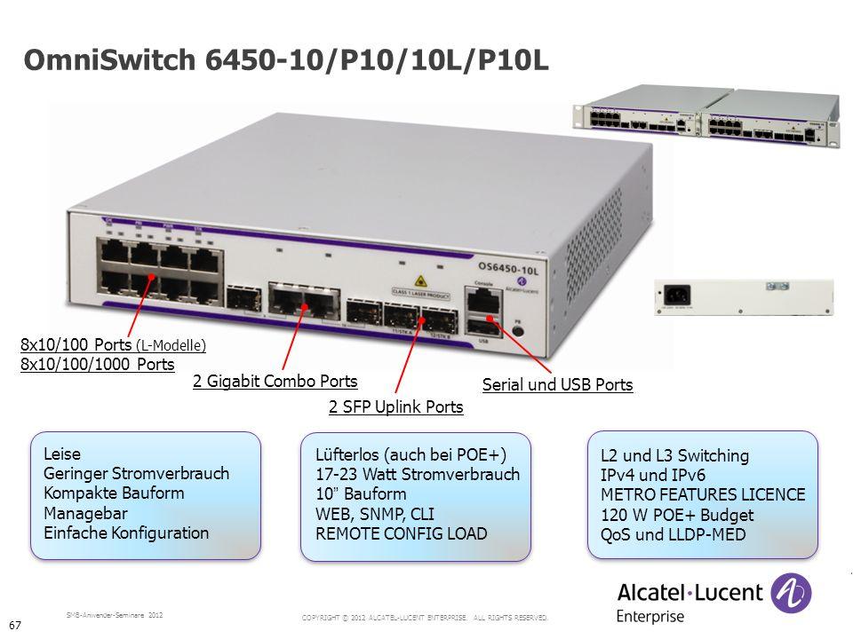 OmniSwitch 6450-10/P10/10L/P10L 8x10/100 Ports (L-Modelle)