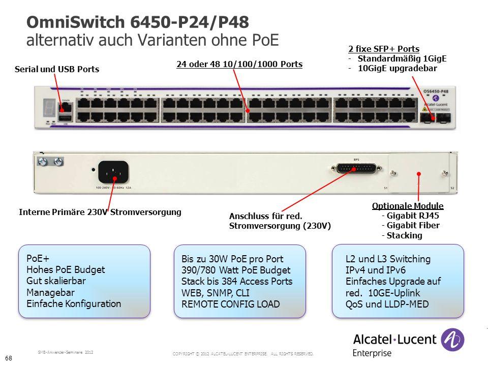 OmniSwitch 6450-P24/P48 alternativ auch Varianten ohne PoE