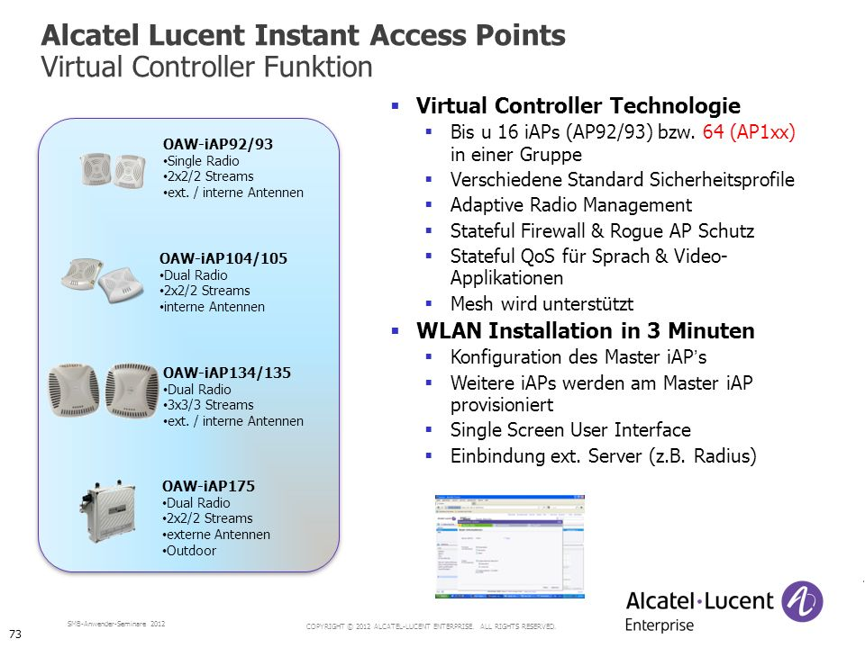 Alcatel Lucent Instant Access Points Virtual Controller Funktion